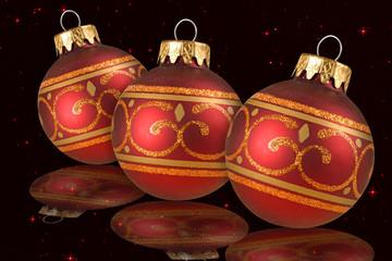 Palline di Natale rosse fondo stellato