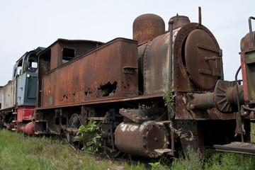 Abandoned train on railway