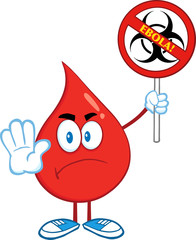 Red Blood Drop Holding A Stop Ebola Sign With Bio Hazard Symbol