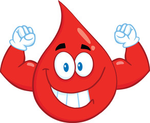 Smiling Red Blood Drop Cartoon Character Showing Muscle Arms