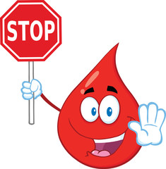 Red Blood Drop Cartoon Mascot Character Holding A Stop Sign