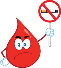 Angry Red Blood Drop Cartoon Holding Up A No Smoking Sign