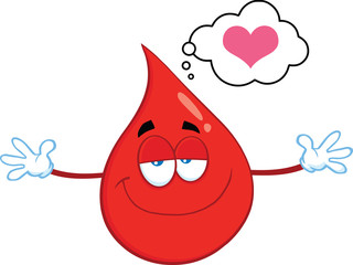 Smiling Red Blood Drop Character With Open Arms For Hugging