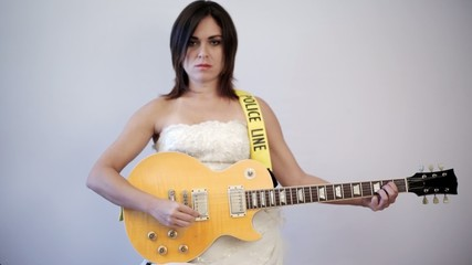 Angry Bride Playing Electric Guitar