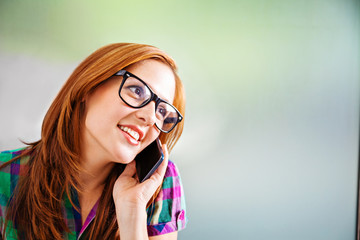 Hipster Female Having Phone Conversation