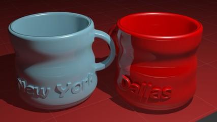 Two mug - New York and Dallas