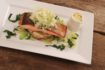 salmon steak plated fish meal
