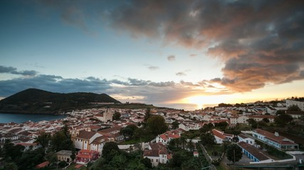 Sunset on Terceira island with Angra do Heroismo in front