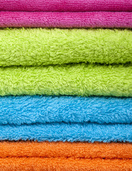 Stack of bath towels background