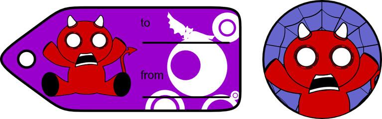 devil halloween cartoon sticker card8