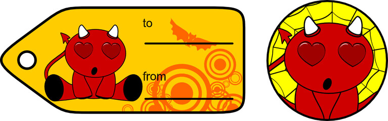 devil halloween cartoon sticker card7