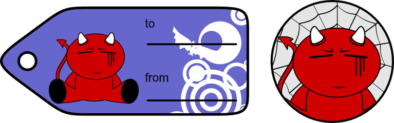 devil halloween cartoon sticker card5