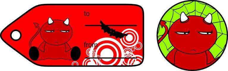 devil halloween cartoon sticker card3