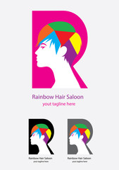 Rainbow hair saloon, art vector design