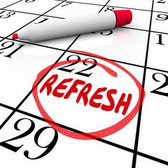 Refresh Word Circled Calendar Day Date Restart Product Business