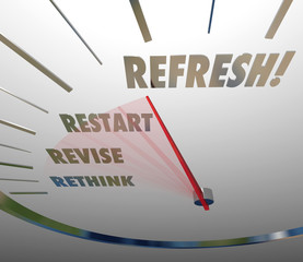 Refresh Rethink Revise Restart Speedometer Gauge Level