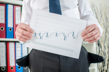 Businessman showing graphs with poor results