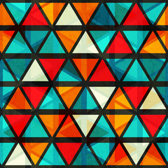 vintage bright triangle seamless pattern with grunge effect