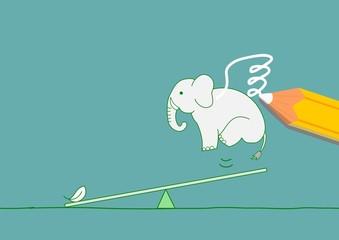 軽さ、象に羽を描く