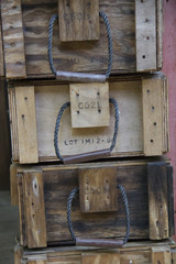 Old wooden crate heap up