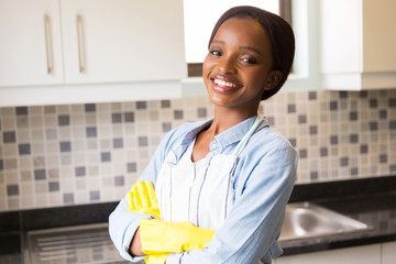 african woman standing in the kitchen