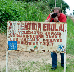 A sign warns visitors that area is a Ebola infected.
