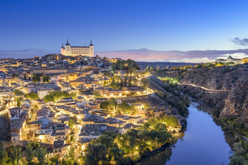Toledo, Spain Town Skyline at Dawn