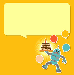 Cute Robot in Birthday Background