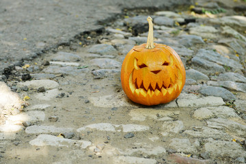 Pumpkin for holiday Halloween on paved road