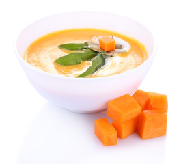 Pumpkin soup isolated on white