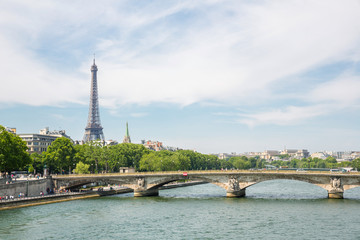 Eiffel Tower along river seine