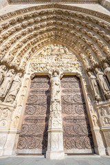 Main gate of Cathedral Notre Dame Paris France