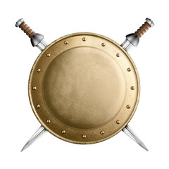 gold or bronze gladiator shield and two crossed swords isolated