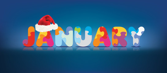 Vector JANUARY written with alphabet puzzle with christmas hat