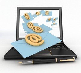 Laptop with incoming letters via e-mail. 3d render illustration