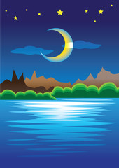 Peaceful Natural Scene of Mountains against Crescent Moon in Sta