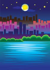 Romantic Urban Scene of City skyline in the Moonlight Vector Ill