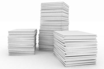 3d render illustration big piles of paper