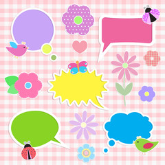 Set of multicolored decorations on pink background