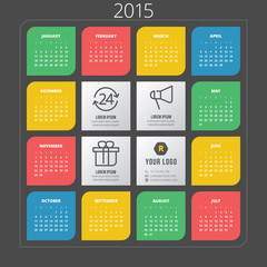 Calendar 2015 vector template week starts sunday