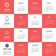 Calendar 2015 vector template week starts sunday