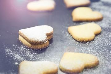 Shortbread cookies in shape of heart