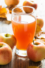 Apple cider ready to drink and ripe organic apples