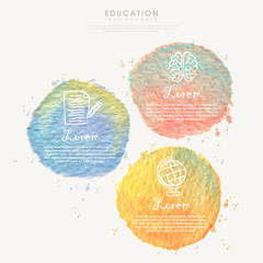 watercolor element for education infographic