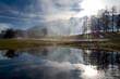 canvas print picture - Herbst Landschaft mit Nebel, See, Bäumen und Bergen