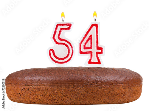 Poster birthday cake with candles number 54 isolated