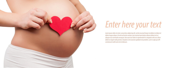 belly of a pregnant woman isolated