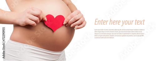 Leinwandbild Motiv belly of a pregnant woman isolated