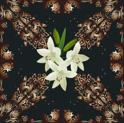 dark brown decorated square with three lilies