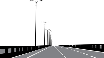 grey straight road on white background